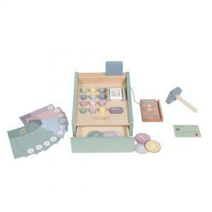 Esta caja registradora de madera es perfecta como parte del juego simbólico es perfecta como complemento a la cocinita de juguete, una tienda, etc...
