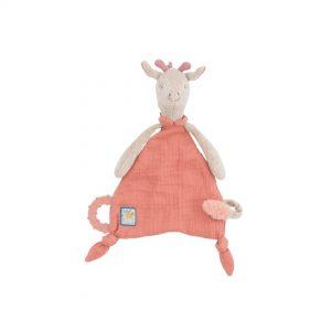 """Doudou Jirafa de Moulin Roty """"Sous Mon Baobab"""" extra suave en forma con forma de león con un tejido muy suave. También tiene una anilla de dentición para que el bebé pueda aliviar sus encías y un porta-chupete para que el bebé pueda tener siempre cerca y que no se pierda."""