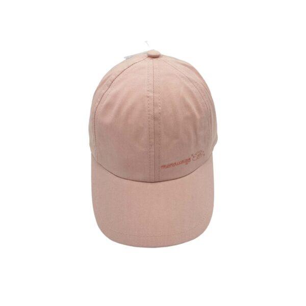 Esta gorra con visera rosa de algodón, es un modelo con visera y goma en la parte de detrás de la cabeza para un mejor ajuste en la cabeza de los peques.