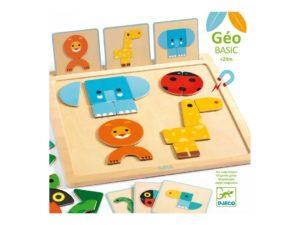 El juego magnético GeoBasic es de madera y es educativo con el que tu peque podrá reproducir los animales según los modelos ilustrados en las cartas.