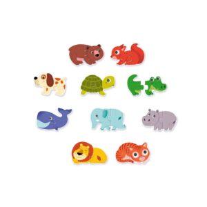 Con este puzzle Duo de Animales de Djeco los más peques podrán jugar a ordenar sus piezas, ya que hacen que los niños se fijen en ellas, las observen y analicen comparándolas con el resto para ver dónde encajan según su forma, color, dibujo... Hacen un juego de abstracción, de predicción, de concentración...