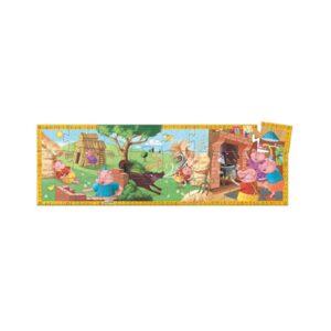 Con este Puzzle de los Tres Cerditos tus peques podrán jugar a ordenar sus piezas, hacen que los niños se fijen en ellas, las observen y las analicen.