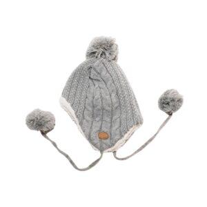 gorro de color gris forrado con coralina blanca muy comodo para niños y niñas